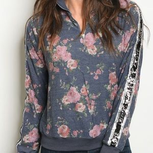 - - HANNAH Sequin Detail  floral pullover